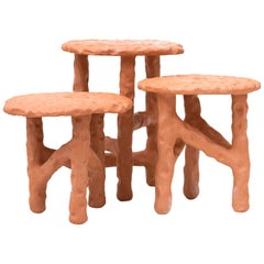 "Chris Wolston Terracotta Side Tables ""Palamino"""