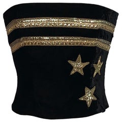 Christian Dior 1980s Black Velvet and Gold Beaded Star Corset Bustier