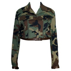 Christian Dior by John Galliano Camouflage Leather Cropped Military-Style Jacket