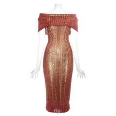 Christian Dior by John Galliano copper knitted off shoulder dress, fw 1999
