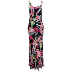 "Christian Dior by John Galliano ""DIOR DOLLS""  Pop Art Ruffled Silk Gown Dress"