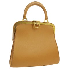 Christian Dior Cognac Leather Gold Top Handle Satchel Kelly Shoulder Bag
