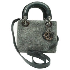 CHRISTIAN DIOR grey wool mini lady dior bag with black leather cross-body strap