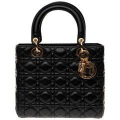 Christian Dior Lady Dior MM (Medium size) handbag in black cannage leather, GHW
