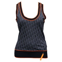 Christian Dior Navy Blue Iconic Logo Tank Top Tank Top T-shirt