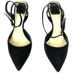 Christian Dior Noir Black Suede Point Toe Sculptured Heel Wrap Around Pumps