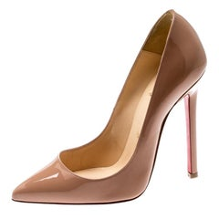 Christian Louboutin Beige Patent Leather Pigalle Pumps Size 35.5
