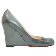 Christian Louboutin Grey Iridescent Patent Leather Wedges