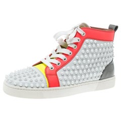 Christian Louboutin Leather Louis Spikes Lace Up High Top Sneakers 38