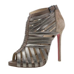 Christian Louboutin Metallic Leather and Suede Karina Strappy Sandals Size 37