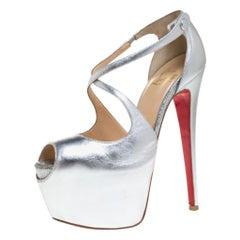 Christian Louboutin Metallic Silver Leather Exagona Platform Sandals Size 36.5