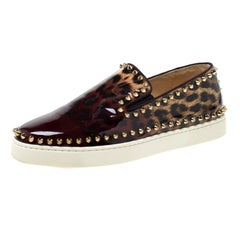 Christian Louboutin Patent Leather Pik Boat Studded Slip On Loafers Size 39