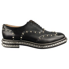 CHRISTIAN LOUBOUTIN Size 10.5 Black Studded Leather Wingtip Lace Up Shoes