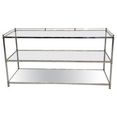 Chrome and Brass Console with Glass Shelves, circa 1980s