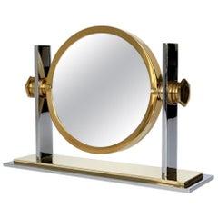 Chrome and Brass Vanity Mirror by Karl Springer