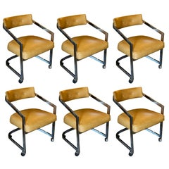 Chrome Milo Baughman Rolling Chairs in Camel Colored Leather, Set of 6