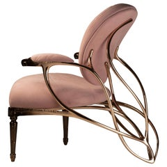 Chrysalide Chair, Collectors Item, Solid bronze, Alcantara, Limited Edition