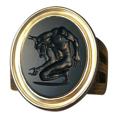 Chushev Minotaur Green Jasper Intaglio Gold Signet Ring