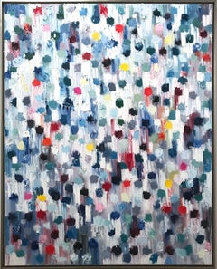 """""""Dripping Dots - St. Barts"""" Colorful Contemporary Oil Painting on Canvas"""
