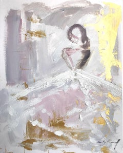 """""""Gracie"""" Abstract Figure with Gown French Haute Couture Oil Painting on Paper"""