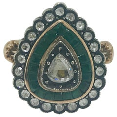 1 Carat Diamond and 1 Carat Emerald Estate Pear Shaped Ring, circa 18th Century
