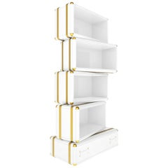 Fantasy Air Bookcase in Wood with Glossy White Lacquer Finish