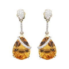 Citrine 17.93 Carat Diamond Dangling Earrings