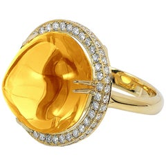 Citrine Uneven Round Cabochon Ring with Diamonds