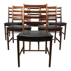 Classic Set of 6 Rosewood Ladder Back Dining Chair by Westnofa, Norway