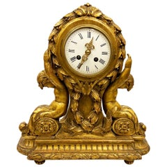 Classical 19th Century French Carved Giltwood Mantle Clock
