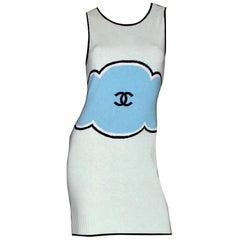 Classy CHANEL Signature CC Logo Enblem Knit Cashmere Mini Dress