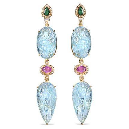 Coomi  Aquamarine Drop Earrings, 21st Century