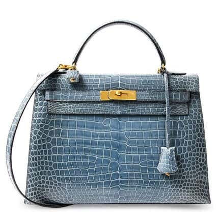Hermès Blue Jean Crocodile Kelly Bag, 21st Century