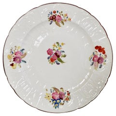 Coalport John Rose Porcelain Plate, White Floral Dulong Blind-Moulded circa 1815