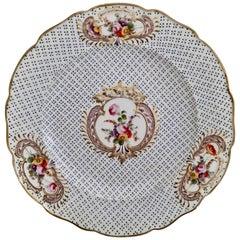 Coalport Porcelain Plate, Moulded Surface, White, Blue, Flowers, Regency