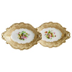 Coalport Set of 2 Oval Dessert Dishes, Beige with Flowers by Thomas Dixon, 1847