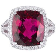Coast 8.20 Carat Rubellite Pink Tourmaline Diamond White Gold Halo Ring