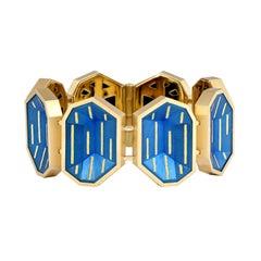 Geometric Cobalt Blue Steel and Gold bracelet by Zoltan David