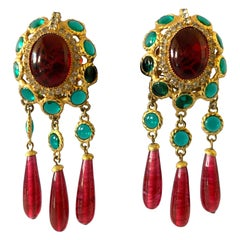 Coco Chanel Mughal Style Haute Couture Jeweled Fringe Statement Earrings