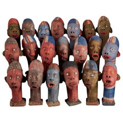 Collection of 20 Decorative and Expressive Bembe Mudzini Reliquary Heads DRC
