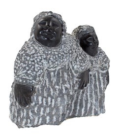 """""""Crossing the Road (C-48)"""" Black Serpentine Stone Sculpture by Colleen Madamombe"""