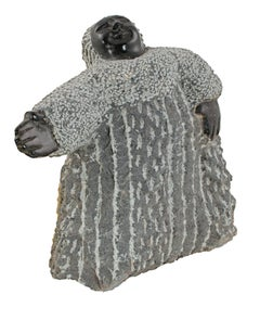 """""""Giving a Sign (C-33)"""" Black Serpentine Stone Sculpture by Colleen Madamombe"""