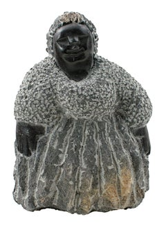 """""""Paying Attention (C-46)"""" Black Serpentine Stone Sculpture by Colleen Madamombe"""