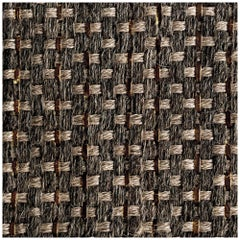 Colombian Crin 5' x 7' Area Rug, Handwoven Horsehair, Jute and Coffee Leather