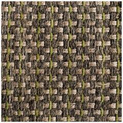 Colombian Crin 5' x 7' Area Rug, Handwoven Horsehair, Jute + Avocado Leather