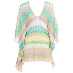 Colorful Missoni Crochet Knit Kaftan Tunic Cover Up Mini Dress