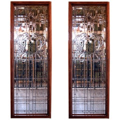Colossal Handcut Beveled Glass Window, circa 1920, Two Matching Available