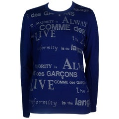 Comme des Garçons Blue Long Sleeve Shirt with Printed Words, 2003
