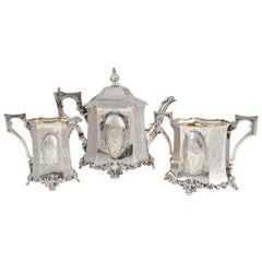 Complete Set of Three Ancient Silver Jugs by Joseph Angell & Son, England, 1845