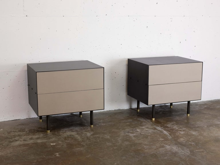 Nightstand variation of the popular connects credenza. The connect collection is emblematic of the contemporary interweaving of mass manufacturing and traditional joinery technique.  Construction and fastening details remain as evidence of process